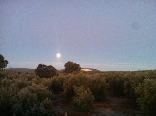 Amanece y la luna sigue iluminando